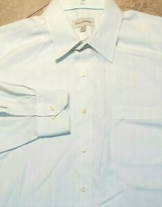 Tommy Bahama Long Sleeve Button Front Shirt Striped Ivory Cotton 16 1/2  4 5