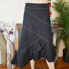 Bisou Bisou Pencil Flare Asymmetrical Hem Denim Jean Long Mid Calf Skirt 18 EC