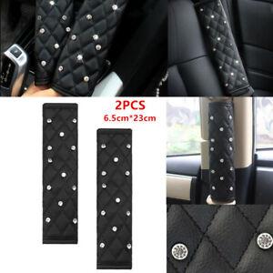 2PCS Black Diamond Leather Truck Car Interior Seat Belt Cover Shoulder Pads Soft