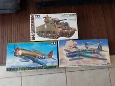Lot 3 Maquettes TAMIYA et HASEGAWA Tank Avions en sachet non montées