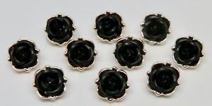 Set of 10 Black Vintage Rose Enamel Resin Shank Buttons