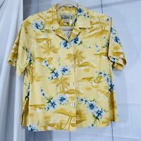 Tommy Bahama Women's XS Top Silk Stretch Button Yellow Blue Floral #X