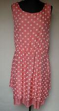 D&F Italy  Kleid 38-40 coralle weiße Punkte Polka Dots 50er Jahre 100% Seide