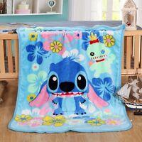 Disney Lilo & Stitch Throw Blanket Warm Flannel Soft Plush Bedding Rug 100X140CM