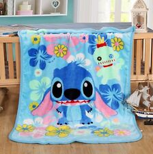 Lilo & Stitch Throw Blanket Warm Flannel Soft Plush Bedding Rug 100X140CM