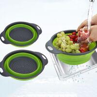 GT- Folding Vegetable Fruit Washing Basket Drain Strainer Colander Kitchen Utens
