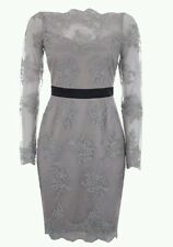 Lipsy VIP elegant grey and black lace shift/pencil dress size 14 # sold out #
