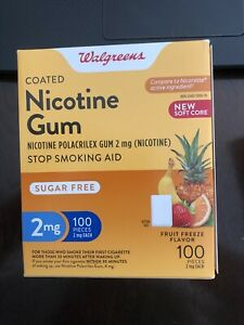 Walgreens Nicotine Gum 2 Mg 100 Ct Fruit Freeze Flavor Exp 10/21 Free Shipping