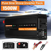 1500W LCD Car Power Inverter DC 12V to AC 220V Pure Sine Wave Converter Q