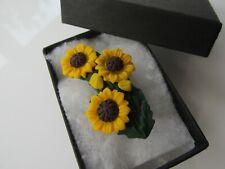 Handmade Golden Yellow Sunflower Brooch Pin - Hospice UK Donation - Boxed 12921