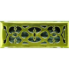 Polished Brass Victorian Floor Vent Cover Ducted Heating 100x300mm AMFRPBV412B