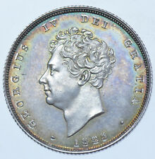 EXTREMELY RARE 1825 PROOF SHILLING, BRITISH SILVER COIN FROM GEORGE IV aFDC