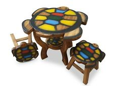 Children Table Set Room Furniture Solid Wood Animal Motif Children's Table+2