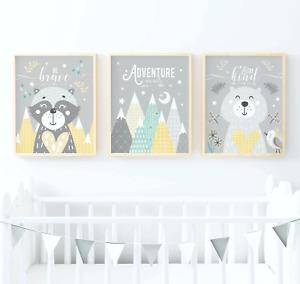 Woodland Animals Nursery Prints. Woodland Animal Prints. Yellow And Grey Nursery