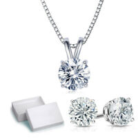 14K White Gold Plated Necklace & Stud Earrings Set with Swarovski Crystals ITALY