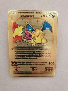 Charizard 1st Edition Gold Pokemon Card Custom Metal Premium