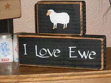 I LOVE EWE w/sheep   primitive shelf sitter