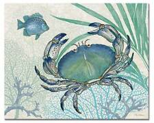 "Coastal Ocean Crab Tempered Glass Cutting Board 15""x 12"" Oceana Fish Counter Art"