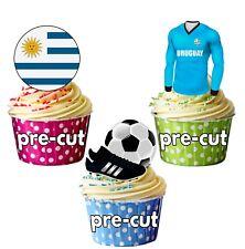 PRECUT Edible Uruguay Football Shirt Flag Cupcake Toppers Cake Decorations