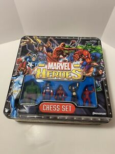 Marvel Heroes Chess Set Pressman 2003 Complete with Metal Tin Case