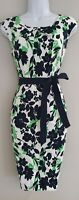 Womens Precis Petite White Blue Green Floral Sleeveless Tie Belt Shift Dress 10