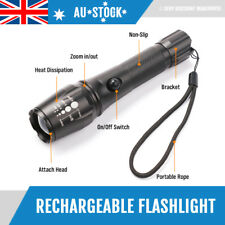 Rechargeable Torch Flashlight 2500 Lumin Zoomable USB LED Rechargable Battery