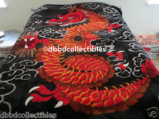 NEW!! QUEEN KOREAN style MINK blanket RED DRAGON Chinese Asian NEW!! in pkg GTC