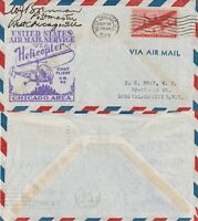 US 1949 HELICOPTER AIR MAIL SERVICE FLOWN COVER AM 96 WEST CHICAGO TO CHICAGO