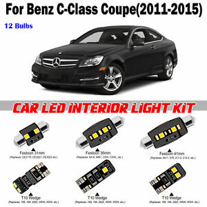 12 Bulbs Bright White LED Interior Light Kit For Benz C-Class Coupe 2011-2015