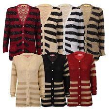 Ladies Cardigan Womens Knitted Sequin Striped Wool Mix Metallic Yarn Boyfriend