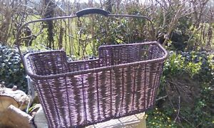 Brown rattan and  Mesh bicycle basket