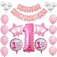 First 1st Birthday Decoration Pink 32pcs Party Set Balloon Banner Bunting