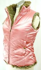 GAP Kids Reversible Faux Fur Lined PINK SATIN PUFFER VEST Girl 12 / Petite WM 4