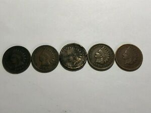 RARE ANTIQUE LOT OF 5 AUTHENTIC US INDIAN HEAD CENT 1861,1889,1897,1898 & 1904