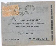 """R.S.I. - da """"CAPONAGO"""" a  Vimercate - RARA TASSATA DI EMERGENZA - 1945"""
