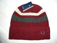 FRED PERRY PORT TIPPED RIBBED Wool Beanie Hat Tuque Tags NEW Mens Burgundy PORT