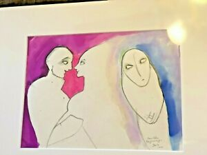 """BEATRICE WOOD """" Another Beginning"""" Signed Original watercolor 1997 SIGNED  BEATO"""