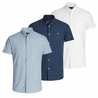 Mens Shirt JACK & JONES New Gavin Oxford Cotton Collared Short Sleeve Casual Top