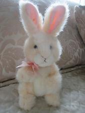 @@VINTAGE Russ Berrie POKIE Bunny Rabbit Cream White Plush Coral Bow Animal