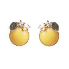 HANABE KOREA Silver Stud Handmade Peach Fruit Natural Fashion Earrings Yellow