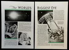 "1934 Mount Palomar Telescope Observatory ""The World's Biggest Eye"" pictorial"