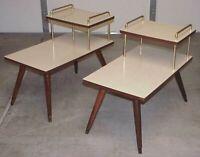 PAIR VINTAGE ATOMIC MID CENTURY MODERN MCM PEG LEG FORMICA TOP STEP END TABLES