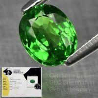 Rare! Certified 1.17ct 6.5x5.5mm Oval Natural Shocking Green Tsavorite Garnet