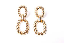 Elegant Women Gold Colour Ornamental Oval Details Hanging Chic Earrings (T438)
