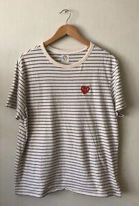 MERONA Pocket Crewneck Off-White & Navy Striped Heart Patch T-Shirt Tee Size L