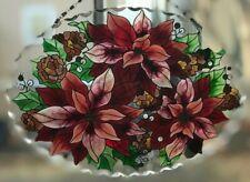 Joan Baker Winter Holiday art glass Suncatcher-SFS1033R-Poinsettias Christmas