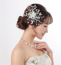 Wedding Bridal Brides Headpiece Crystal Pearl Hair Comb Clip Party Accessories