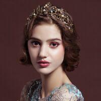 Gold Pearl Leaf Bridal Tiara Crystal Crown Headband Tiara Wedding Bride Headband