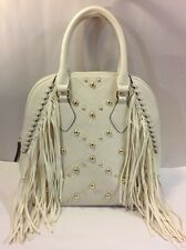 MOSSIMO Cream Gold Studded Fringe Tassel Shoulder Bag Purse Handbag Ivory Large