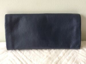 CLARKS Crafted real leather ladies large blue soft slouchy purse